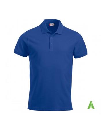 Polo unisexe bleue royal 56, manches courtes, tissu peigné, avec broderies pour les entreprises et le temps libre.