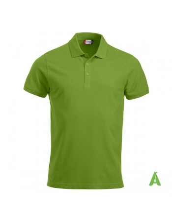 Polo de piqué color verde claro 67, manga corta, unisex, personalizado con bordado para empresas y tiempo libre.