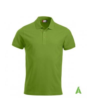 Polo unisexe vert clair 67, manches courtes, tissu peigné, avec broderies pour les entreprises et le temps libre.