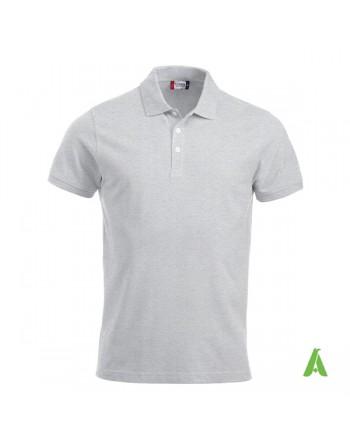 Polo unisexe gris clair 92, manches courtes, tissu peigné, avec broderies pour les entreprises et le temps libre.