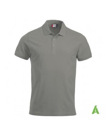 Polo de piqué color gris 94, manga corta, unisex, personalizado con bordado para empresas y tiempo libre.