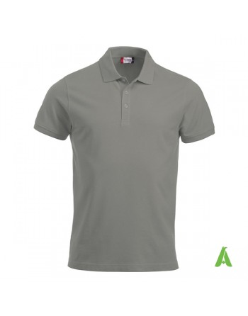 Polo unisexe gris 94, manches courtes, tissu peigné, avec broderies pour les entreprises et le temps libre.