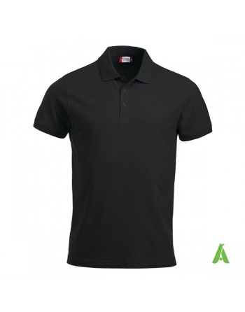 Polo unisexe noire 99 manches courtes, tissu peigné, avec broderies pour les entreprises et le temps libre.
