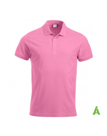 Piquet poloshirt pink color 250, unisex, short sleeves, with bespoke embroidered logo for companies, freetime, promotions.