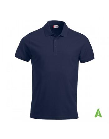 Polo de piqué color azul marino 580, manga corta, unisex, personalizado con bordado para empresas y tiempo libre.