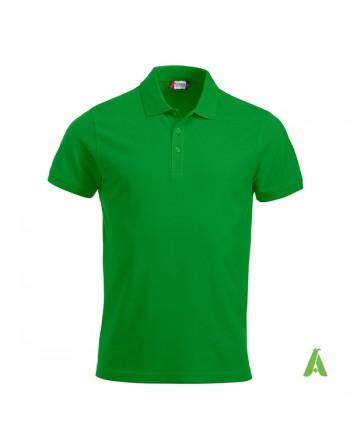 Polo de piqué color verde 605, manga corta, unisex, personalizado con bordado para empresas y tiempo libre.