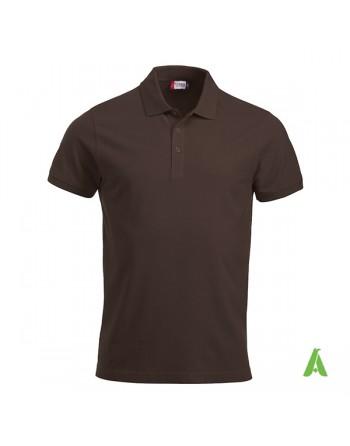 Polo unisexe marron 825, manches courtes, tissu peigné, avec broderies pour les entreprises et le temps libre.
