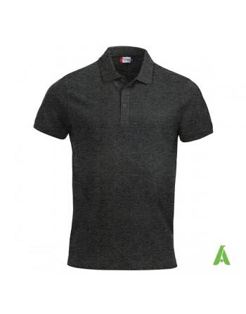 Polo unisexe gris anthracite foncé, manches courtes, tissu peigné, avec broderies pour les entreprises et le temps libre.