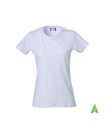 T-shirt donna bianca personalizzata con ricamo, vestibilita' slim fit in cotone Jersey pettinato, colletto elasticizzato.
