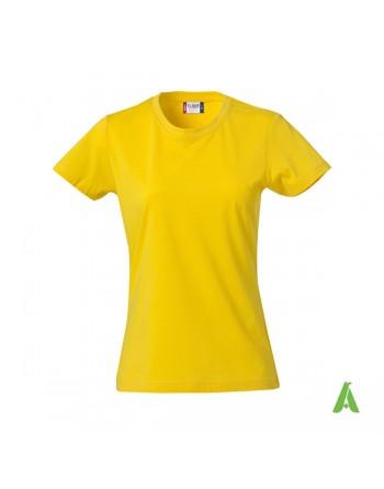 Gelbe Damen-T-Shirt, kurze Ärmel, 100% Baumwollring mit Spungjersey für Unternehmen, Sport, Verbände.