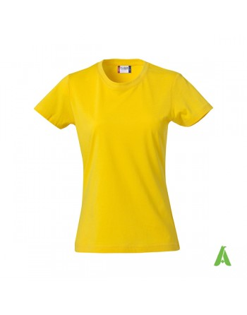 Slim fit Lady T-shirt yellow color 10, bespoke embroidery, short sleeves & jersey cotton.