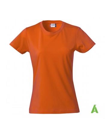 T-shirt donna colore arancione 18, personalizzata con ricamo, slim fit in cotone Jersey pettinato, colletto elasticizzato.