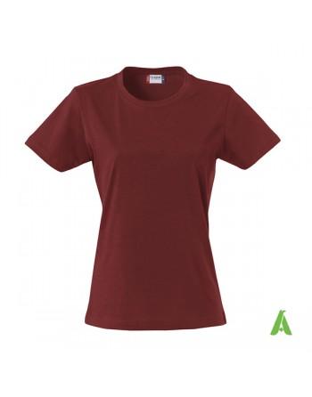 T-shirt femme couleur boudeaux 38, à manches courtes, en jersey ring spung 100% coton pour promotionnel.