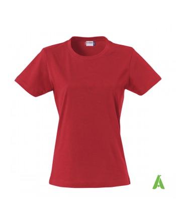 T-shirt donna colore rosso 35, personalizzata con ricamo, slim fit in cotone Jersey pettinato, colletto elasticizzato.