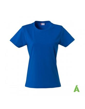 T-shirt donna colore royal 55, personalizzata con ricamo, slim fit in cotone Jersey pettinato, colletto elasticizzato.