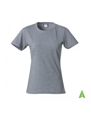 T-shirt donna colore ggrigio melange 55, personalizzata con ricamo, slim fit in cotone Jersey pettinato, colletto elasticizzato.