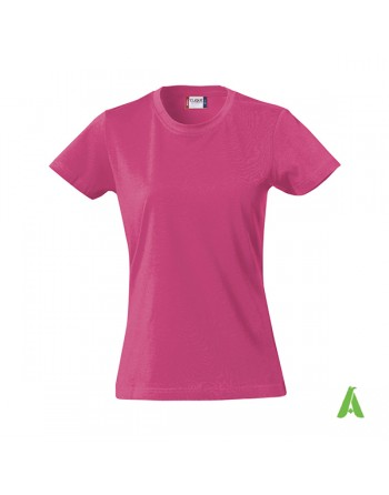 Slim fit Lady T-shirt fucsia color 300, bespoke embroidery, short sleeves & jersey cotton.