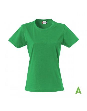 T-shirt donna colore verde bandiera 605, personalizzata con ricamo, slim fit in cotone Jersey pettinato, colletto elasticizzato.