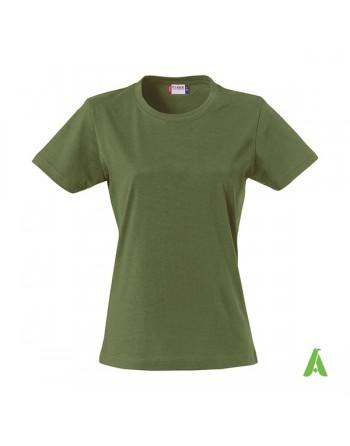 T-shirt donna colore verde militare 71, personalizzata con ricamo, slim fit in cotone Jersey pettinato, colletto elasticizzato.