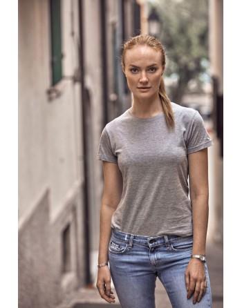 T-shirt donna personalizzata con ricamo, slim fit in cotone Jersey pettinato, colletto elasticizzato.