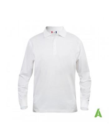 Polo de manga larga, color blanco 00, unisex, con bordados personalizados para empresas y promocionales.