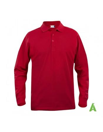 Polo colore rosso 35, manica lunga unisex, slim fit con tessuto cotone ring spun irrestringibile.