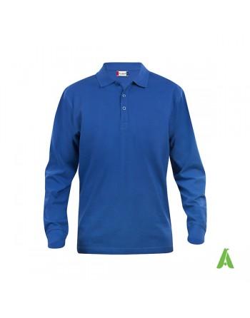 Polo de manga larga, color azul real 55, unisex, con bordados personalizados para empresas y promocionales.