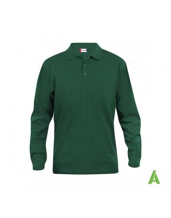 Polo de manga larga color botella verde 68, unisex, con bordados personalizados para empresas y promocionales.