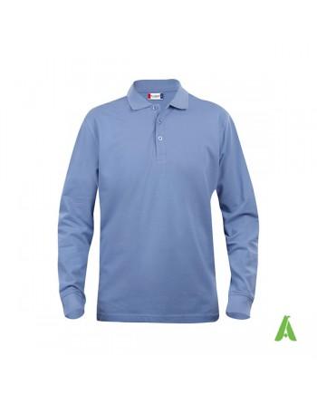 Polo manica lunga colore azzurro 57, unisex, slim fit con tessuto cotone ring spun irrestringibile.