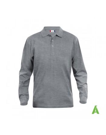 Polo de manga larga, color melange gris 95, unisex, con bordados personalizados para empresas y promocionales.