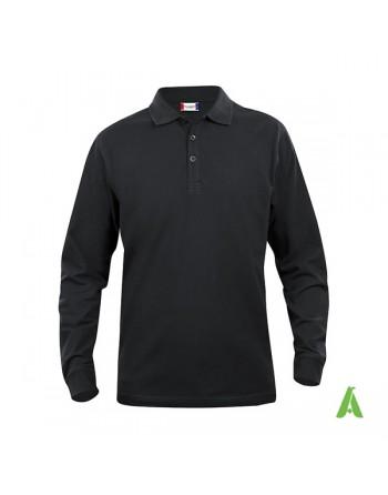 Polo de manga larga, color negro 99, unisex, con bordados personalizados para empresas y promocionales.