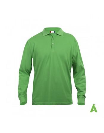 Polo manica lunga colore verde 605, unisex, slim fit con tessuto cotone ring spun irrestringibile.
