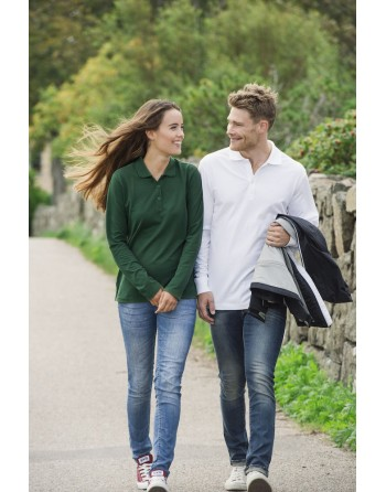 Polo manica lunga unisex, slim fit con tessuto cotone ring spun irrestringibile.