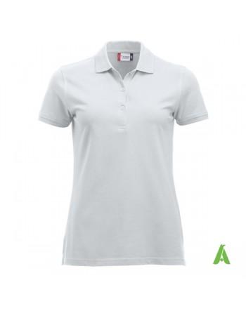 Polo donna colore bianco 00, personalizzata con ricamo, manica corta, 100% cotone, vestibilita' slim fit.