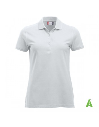 Lady poloshirt white color 00, short sleeves, with bespoke embroidery, for companies, sport, freetime.