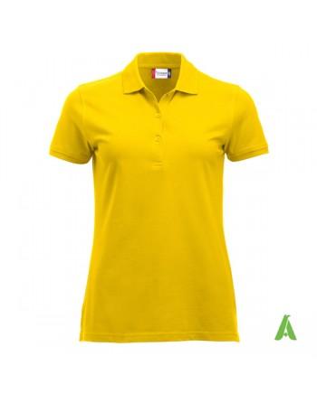 Polo piqué femme couleur jaune 10, à manches courtes, avec tissu peigné sans retrait pour la promotion et entreprises.
