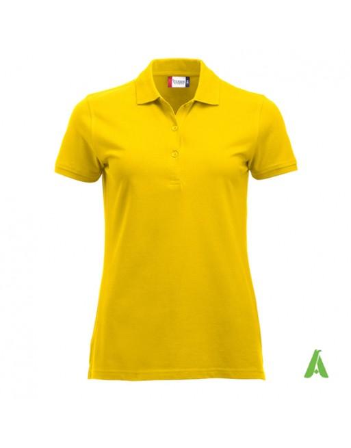 Polo amarillo para mujer, manga corta, tejido slim fit sin encogimiento, personalizado con bordados para promociones y empresas