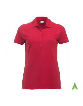 Polo piqué femme couleur rouge 35, à manches courtes, avec tissu peigné sans retrait pour la promotion et entreprises.