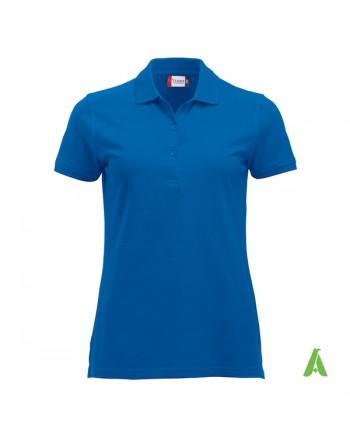 Polo azul real 55 para mujer, manga corta, tejido slim fit sin encogimiento, personalizado con bordados para promociones.