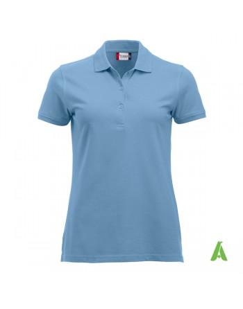 Polo azul iceberg 572 para mujer, manga corta, tejido sin encogimiento, personalizado con bordados para promociones y empresas