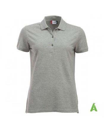 Polo donna colore grigio melange, personalizzata con ricamo, manica corta, 100% cotone, vestibilita' slim fit.