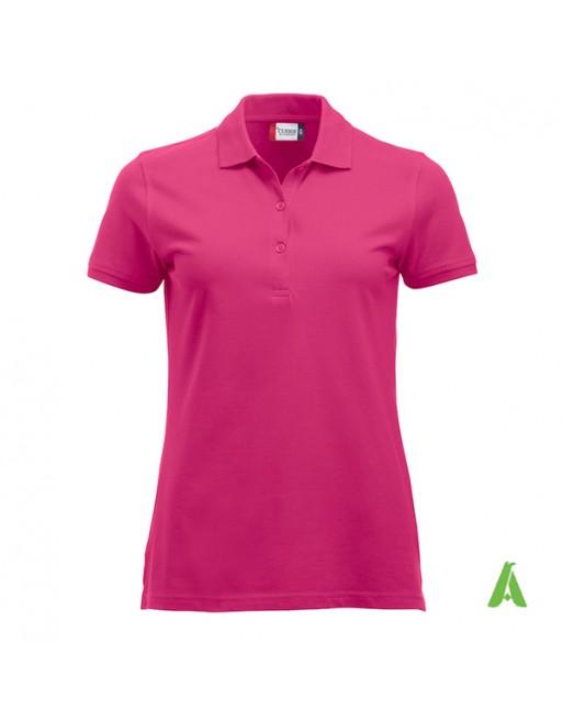 Polo donna colore fucsia, personalizzata con ricamo, manica corta, 100% cotone, vestibilita' slim fit.