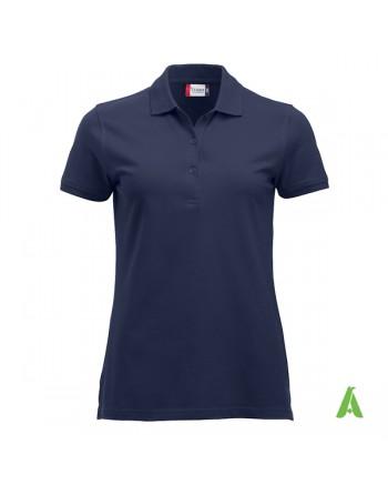 Polo donna colore blu navy scuro, personalizzata con ricamo, manica corta, 100% cotone, vestibilita' slim fit.