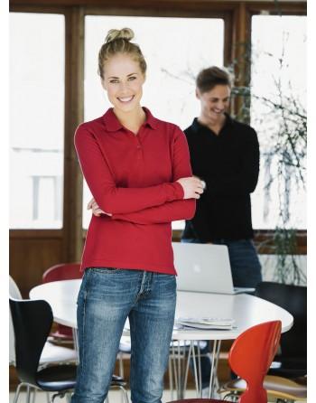 Polo piqué pour femme, à manches longues avec tissu peigné, pour promotionnel, sport e travail.