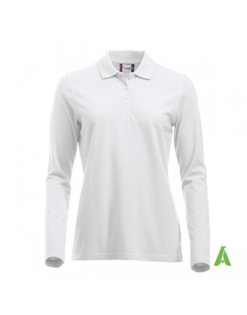 Long sleeves lady polo-shirt colour white 00, Sweatband, Slim-fit, for companies, promotions, sport.
