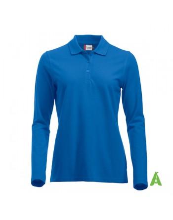 Polo de mujer manga larga color azul real 55, para empresas, promoción y deporte.