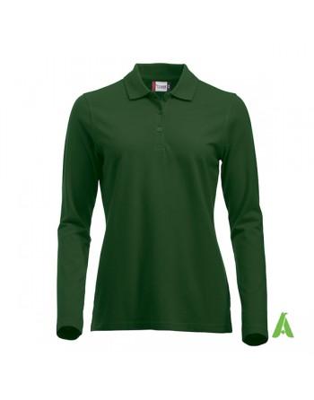 Polo de mujer manga larga color verde botella 68, para empresas, promoción y deporte.