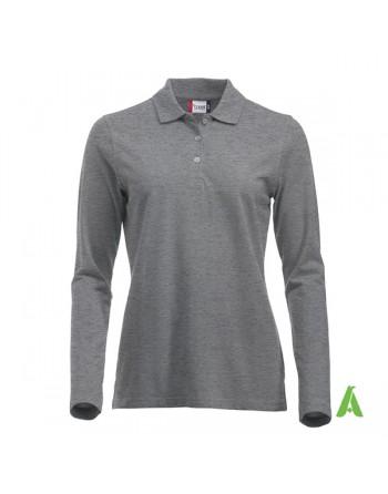 Polo de mujer manga larga color melange gris 95, para empresas, promoción y deporte.