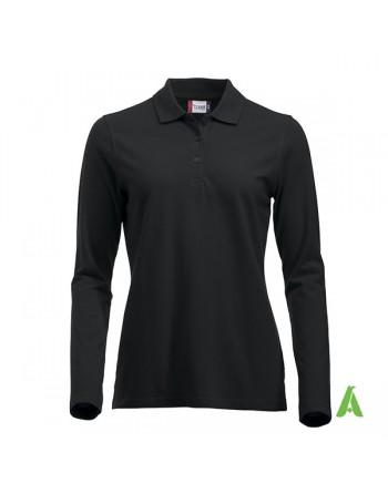 Polo de mujer manga larga color negro 99, para empresas, promoción y deporte.