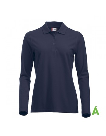 Polo de mujer manga larga color azul marino, para empresas, promoción y deporte.